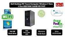 Dell Desktop Computer Windows 7 Pro. Core 2 Duo 8GB Ram 750GB DVD Wi-Fi