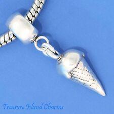 ICE CREAM CONE .925 Solid Sterling Silver EUROPEAN EURO Dangle Bead Charm
