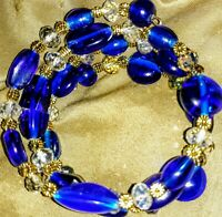 Memory Wire Wrap Bracelet With  Blue  & Gold Color Toned Glass Beads  Handmade
