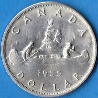 Canada 1955 Arnprior Die Break $1 One Dollar Silver Coin - AU