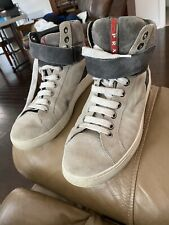 PRADA Men's High Top Grey Suede Sneakers Shoes 4T2597 4T 2597 Size 7 US