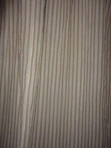 CABANA STRIPE TAN & WHITE GAUZE FABRIC LONG SHOWER CURTAIN 70 X 87 TROPICAL