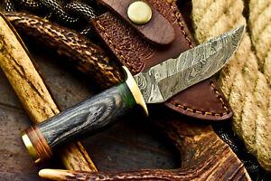 Custom HandMade Damascus Steel Blade Hunting Miniature Knife | HARD WOOD