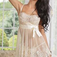 Sexy Women Lingerie Babydoll Bowknot Sleepwear Underwear Lace Dress + G-string