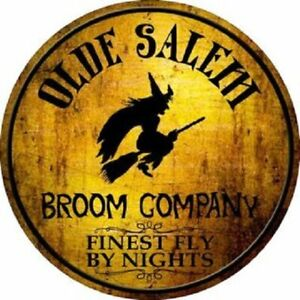 "OLDE SALEM BROOM COMPANY 12"" ROUND LIGHTWEIGHT METAL WALL SIGN DECOR"
