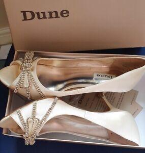 Dune bridal /party shoes 41 Size 8, diamante wedding cruise races Ivory
