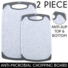 2Pc Plastic GRIP HighDensity Chopping Board Set Kitchen Cutting MARBLE WHITE