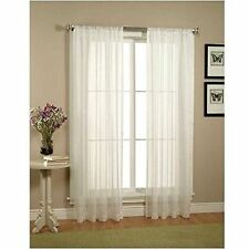 2 Piece Solid White Sheer Window Curtains/drape/panels/treatment size 60x84 NEW