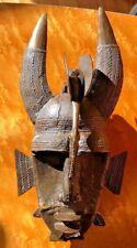 """Antique bronze Cote D'Ivoire Senufo Tribal Art Horns Kpelie Mask African 14"""""""