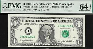 1993 $1 MINNEAPOLIS FED MULE PMG 64 EPQ ONLY 2 GRADED HIGHER SER# I09351983A  NR
