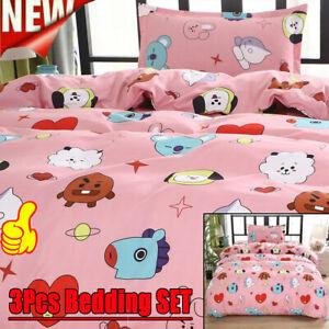 3Pcs Duvet Quilt Cover Bedding SET Cartoon Cotton Sheets Cover Pillowcase UK