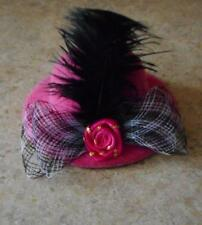 Pink Hat w/Plume & Red Rosette & Bow for Barbie Doll
