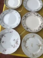 6 Vintage Mismatched China Salad Luncheon Plates Pinks Blues Multi FLORAL #4