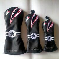Black PU with Shark Embroidery Golf Club Driver Fairway Wood Hybrid Head Cover