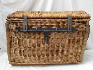 Antique French Wicker Shipping / Travel Trunk Iron lock bar Hide Reinforcement