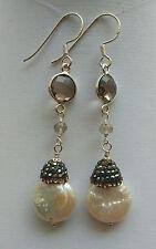Orecchini pendenti perla di fiume goccia pavè strass quarzo fumè argento 925