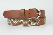 Dark Brown Womens Aztec Pattern Mini Pearl Studs Size S