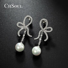 Elegant Women Pearl CZ Bowknot Drop Dangle Ear Earrings Bridal Charm Jewelry HOT