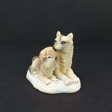 """Small Wolf With Baby Figurine 2.5"""" Tall Wild Animal Collectible Statue D"""