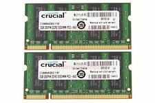 Crucial 4GB 2X 2GB PC2-6400S DDR2 800Mhz 800 200pin SO-DIMM RAM Laptop Memory