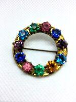 Vintage Czech  glass -Round brooch