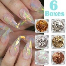 6 Boxes Nail Art Foil Leaf Silver Gold Copper Flakes Chunky Glitter Decor Makeup