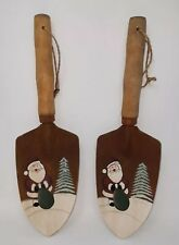 Hand Painted Santa Country Decor Hanging Garden Shovels Rustic Rope Hanger New