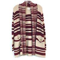 Lucky Brand Burgundy Tan Stripe Shawl Collar Open Front Cardigan Womens Size XS