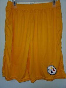0724 Mens PITTSBURGH STEELERS Polyester Jersey SHORTS Embroidered GOLD New