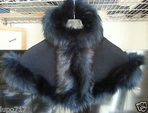 BABY GIRL LONG FLUFFY FAUX FUR HOODED WINTER CAPE COAT PONCHO XS 6-18 MONTHS