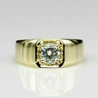 1/2 Ct Round Diamond Pinky Engagement Wedding Men's Ring 14K Yellow Gold Fn