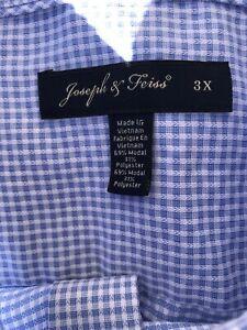Joseph & Feiss XXXL Plaid Blue Shirt Non- Iron. Excellent!