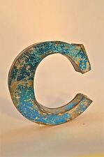FANTASTIC RETRO VINTAGE STYLE BLUE 3D METAL SHOP SIGN LETTER C ADVERTISING FONT