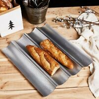 2/3/4 Slots Non-Stick Perforated French Bread Pan  Wave Loaf Bake Baking Mould