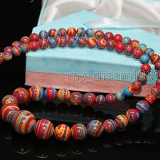 Fashion 6-14mm Multi-Color Turkey Turquoise Gemstone Tower Necklace 17""
