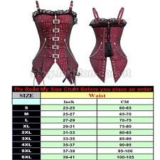 Black 20 Style Lace Up Boned Corset Dress Waist Cincher Overbust Bustier punk #