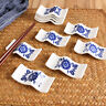 Chopsticks Rack Chinese Ceramic Porcelain Spoon Holder Stand Cutlery Blue Home