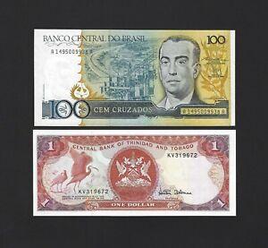 BRAZIL 100 Cruzados 1987 P-211 UNC AND Trinidad & Tobago 1 Dollar 1985 P-36 UNC