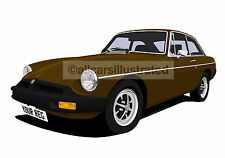 MGB GT CAR ART PRINT PICTURE (SIZE A4). PERSONALISE IT!