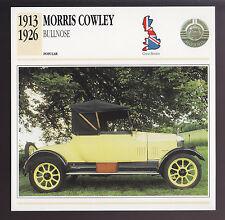1913-1926 Morris Cowley Bullnose British Car Photo Spec Sheet Info ATLAS CARD