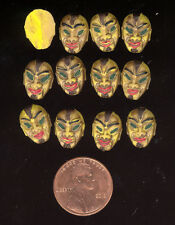 24 Vintage West German Hand Painted TRIBAL MASK #3 Resin Cabochons 13x9mm