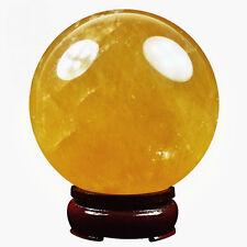 100MM Natural Citrine Calcite Quartz Crystal Sphere Ball Healing Gemstone+Stand