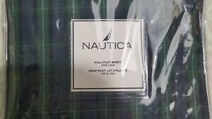 NEW NAUTICA 100% COTTON FULL FLAT SHEET BLACKWATCH NIP