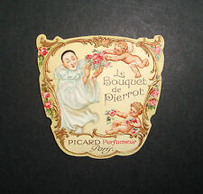 ETIQUETTE DE PARFUM BOUQUET DE PIERROT GAUFREE DOREE A PICARD PARIS OLD LABEL