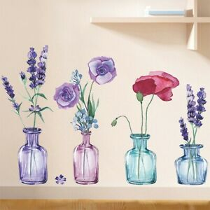 1 Set Color Vase Lavender Self Adhesive Wall Stickers Kitchen Living Room Decor