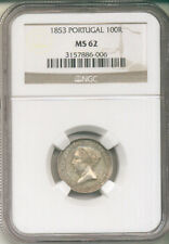 PORTUGAL 1853 SILVER 100 REIS (KM#488) NGC MS 62 (1 YEAR TYPE 66,000 MINTAGE)