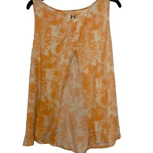 Under Armour Size XL Womens Orange Tie Dye Knotted Back Hi Lo Sleeveless Top
