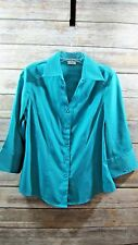 Catos Ladies Blue Button Up Fitted Blouse Size M