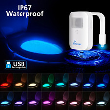 Rechargeable 16-Color Toilet Night Light with Ip67 Waterproof Design, Motion Led
