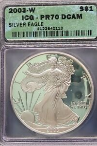 2003-W ICG PR70 DCAM American Silver Eagle S$1 Proof PF 70 - 1oz Silver Dollar